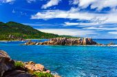 Beach Grand Anse at island La Digue, Seychelles - nature background
