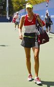 Five times Grand Slam champion Maria Sharapova after  practice for US Open 2014