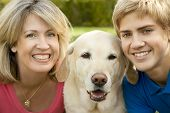 Mom, Son And Yellow Lab