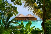 Water bungalows on a tropical island - vacation background