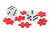 Dices and puzzle isolated on white background