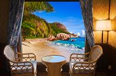 Hotel room and beach landscape - vacation concept background