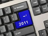 Computer keyboard with 2011 key - holiday concept