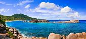 Panorama of tropical beach at Seychelles - nature background