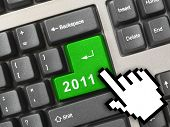 Computer keyboard with 2011 key and cursor - holiday concept