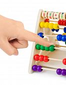 Hand and abacus isolated on white background