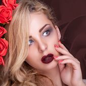 Sensual Woman With Flower Background