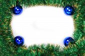 Frame Of Green Christmas Garland With Blue Balls