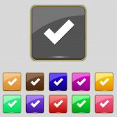 Check mark sign icon . Confirm approved symbol. Set colourful buttons. Vector