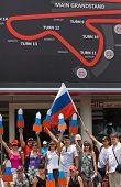 SEPANG, MALAYSIA - APRIL 10: Russian fans at Formula 1 GP, April 10 2011, Sepang, Malaysia