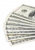 Dollar money banknotes isolated on white background