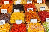 Dried fruits - food background