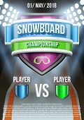 Background for posters snowboard field game announcement. Vector