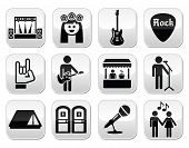 Music festival, live concert vector buttons set