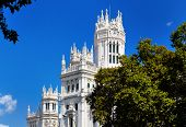 The palace in plaza Cibeles at Madrid, Spain - architecture background