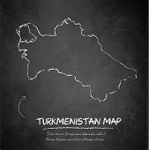 Turkmenistan map blackboard chalkboard vector
