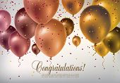 stock photo of confetti  - Background with multicolored flying balloons and confetti - JPG