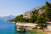 Beach at Brela, Croatia - resort travel background