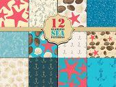 Seamless pattern sea set