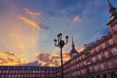 Mayor Plaza in the center of Madrid Spain at sunset