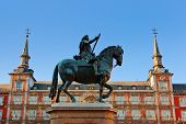 Statue of Philip III on Mayor plaza in the center of Madrid Spain