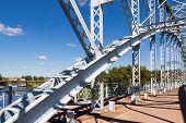 Detail Of Steel Arch Bridge Across River Msta. Novgorod Region, Russia