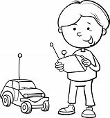 Boy And Remote Car Coloring Page