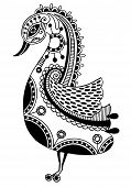 ink drawing of tribal ornamental bird, ethnic pattern, black and