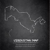 Uzbekistan map blackboard chalkboard vector