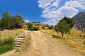 Pathway to Mycenae ruins, Greece - travel background