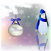 Christmas-Blue Happy Holidays Penguin
