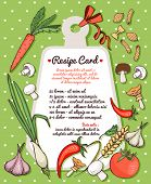 picture of recipe card  - Recipe card template with text space surrounded by fresh vegetables  mushrooms and spices with assorted dried Italian pasta - JPG