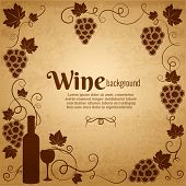 stock photo of grape  - Wine and grapes frame in sepia and brown with central copyspace surrounded by bunches of grapes  a wine bottle and wineglass and vines with scrolling tendrils and leaves  square format - JPG