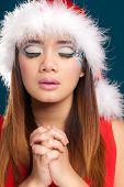Beautiful christmas woman with santa costume