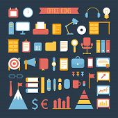 Business, marketing and office infographic design elements. Set of vector colored stylish icons. Ill