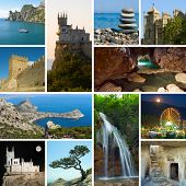 Collage of Crimea Ukraine images - travel and nature background (my photos)