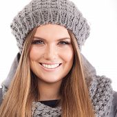 Beautiful young woman in the warm clothes
