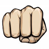 stock photo of pugilistic  - Colored vector of a punching hand with a clenched fist aimed directly at the viewer  isolated on white - JPG