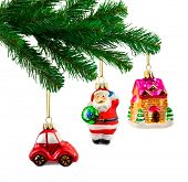 Christmas tree and toys isolated on white background