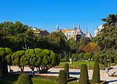 Park of the Pleasant Retreat in Madrid Spain - nature and architecture background