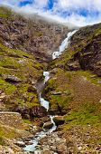 Stigfossen waterfall and Troll's Path - Norway - nature and travel background
