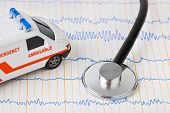 Stethoscope and ambulance car on ecg - medical background