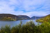 Bridge across fjord in Norway - nature and travel background