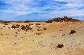 Lunar landscape at volcano Teide in Tenerife island - Canary Spain