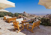 Cafe at cave city in Cappadocia Turkey - travel background