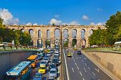 Car traffic at Istanbul Turkey - transportation background