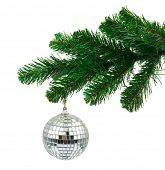Christmas tree and mirror ball isolated on white background