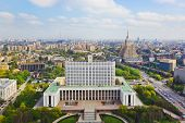 Building of Russian government in Moscow - aerial view