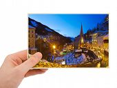 Mountains ski resort Bad Gastein Austria photography in hand (my photo) isolated on white background