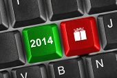 Computer keyboard with 2014 keys - holiday concept